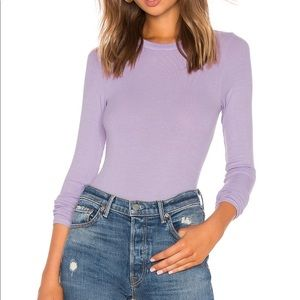 Enza Costa Rib Fitted Crew Neck Top in Orchid